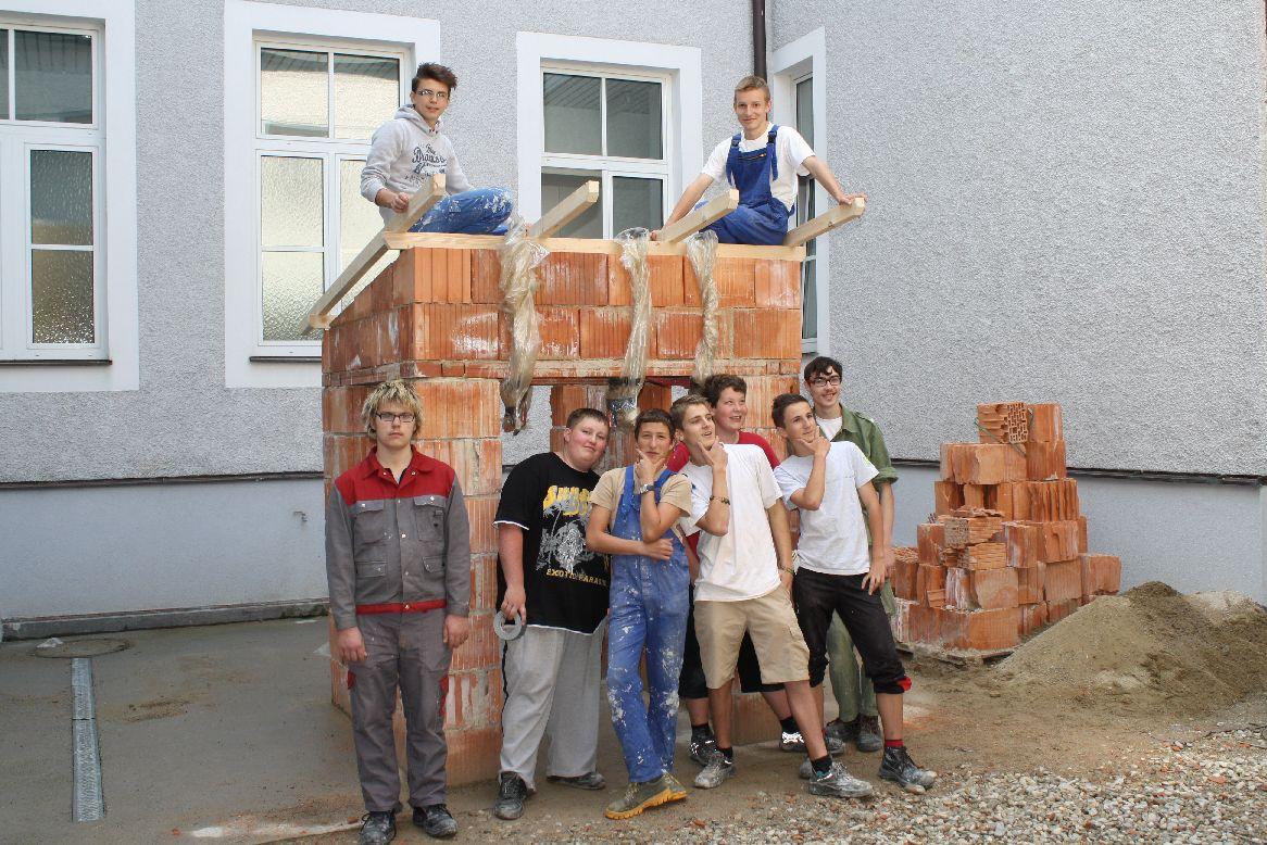 Bau eines Hauses mit Dachstuhl
